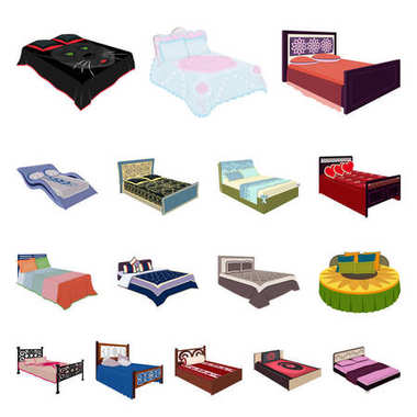 Different beds cartoon icons in set collection for design. Furniture for sleeping vector isometric symbol stock web illustration.