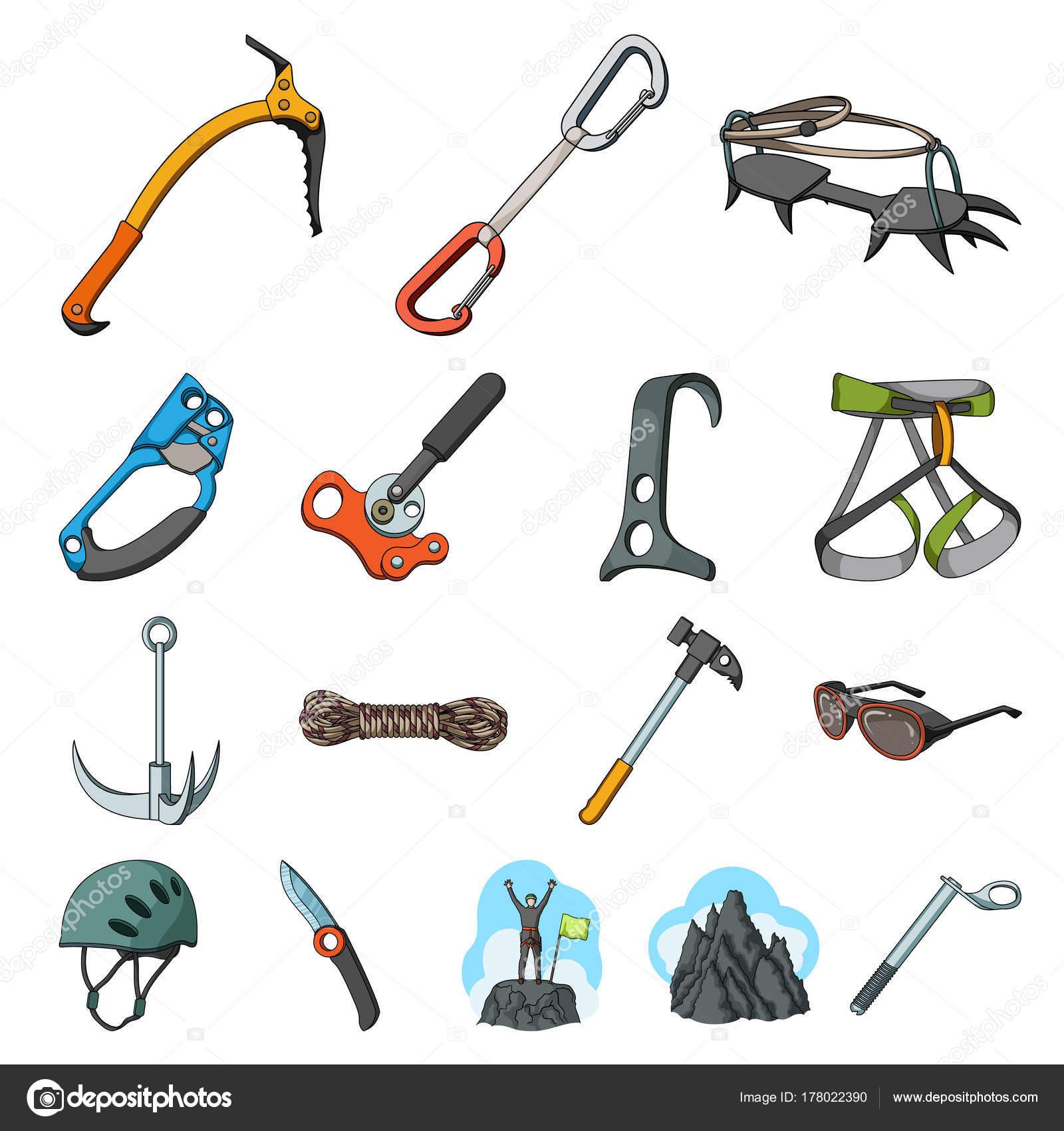 82d0b459851 Montañismo y escalada de dibujos animados iconos de colección set de  diseño. Equipos y accesorios