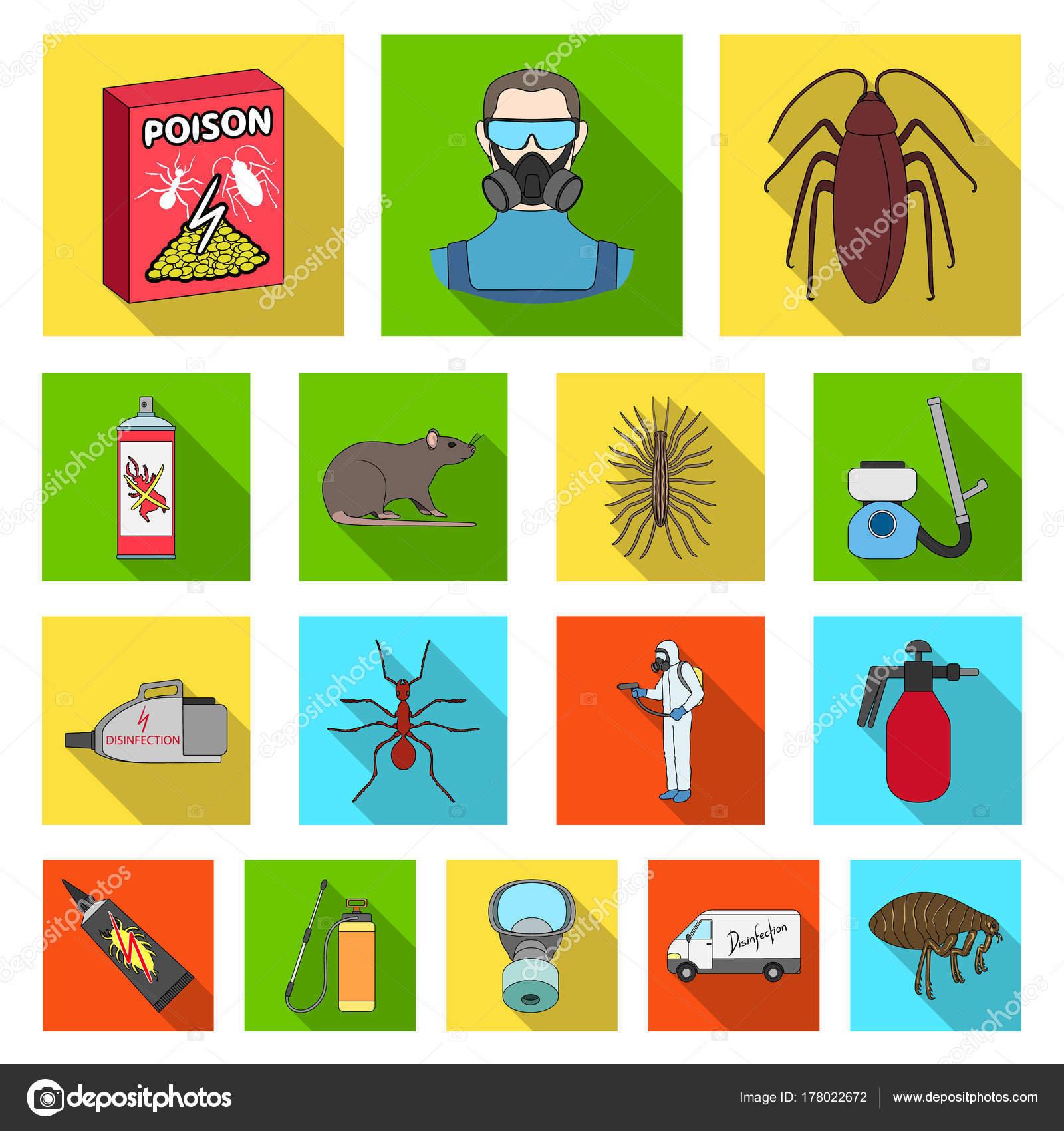 Pest Poison Personnel And Equipment Flat Icons In Set Collection