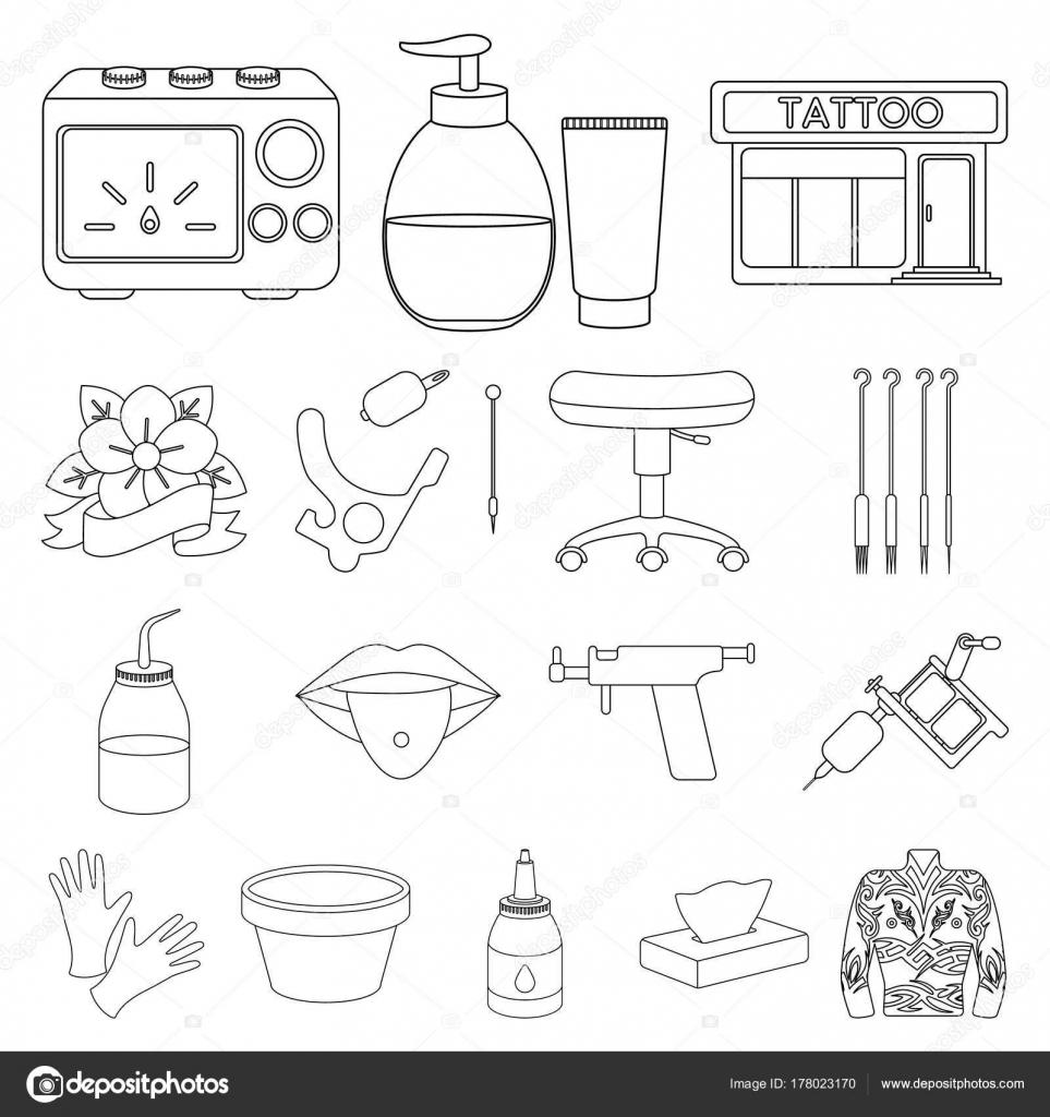 Tattoo, Zeichnung auf dem Körper Gliederung Symbole im Set Sammlung ...