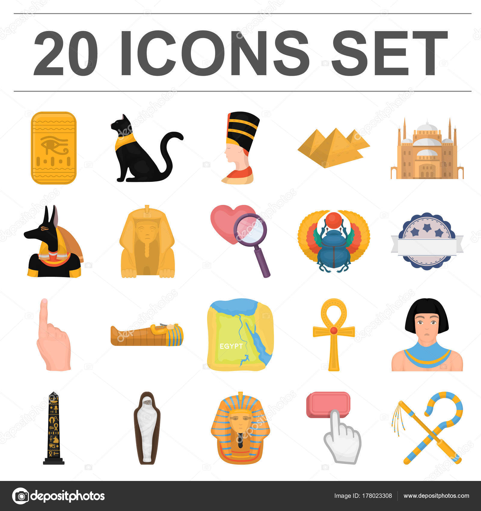 Ancient Egypt Cartoon Icons In Set Collection For Design The Reign