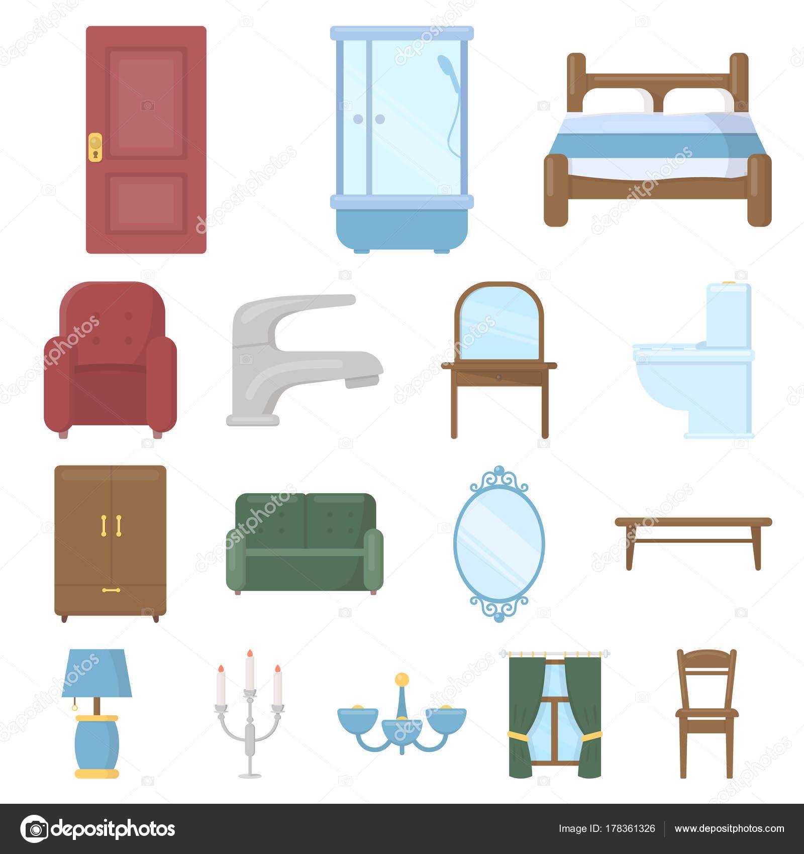 Mobili ed arredamento icone in insieme di set per il for Un insieme di mobili