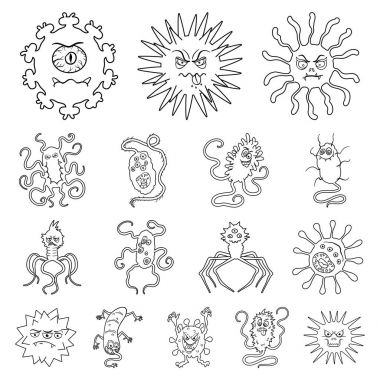 Types of funny microbes outline icons in set collection for design. Microbes pathogenic vector symbol stock web illustration.