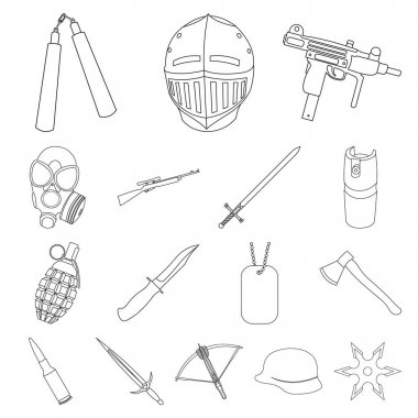 Types of weapons outline icons in set collection for design.Firearms and bladed weapons vector symbol stock web illustration.