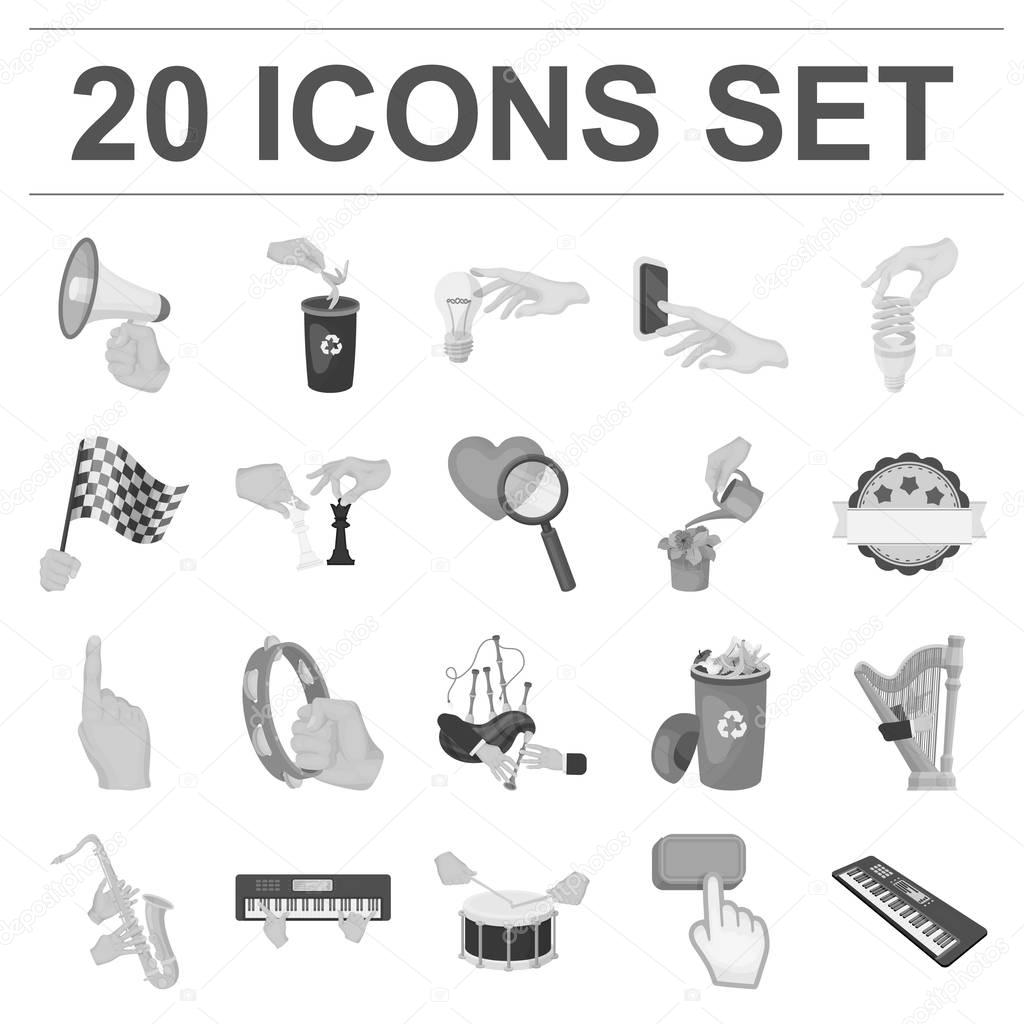 Manipulation by hands monochrome icons in set collection for design. Hand movement vector symbol stock web illustration.