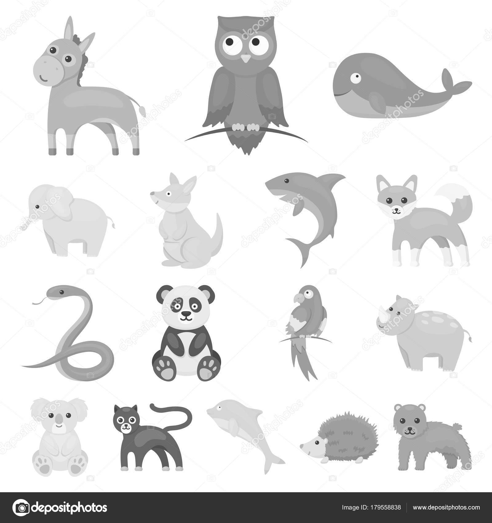非現実的な動物モノクロのアイコン デザインのセットのコレクション