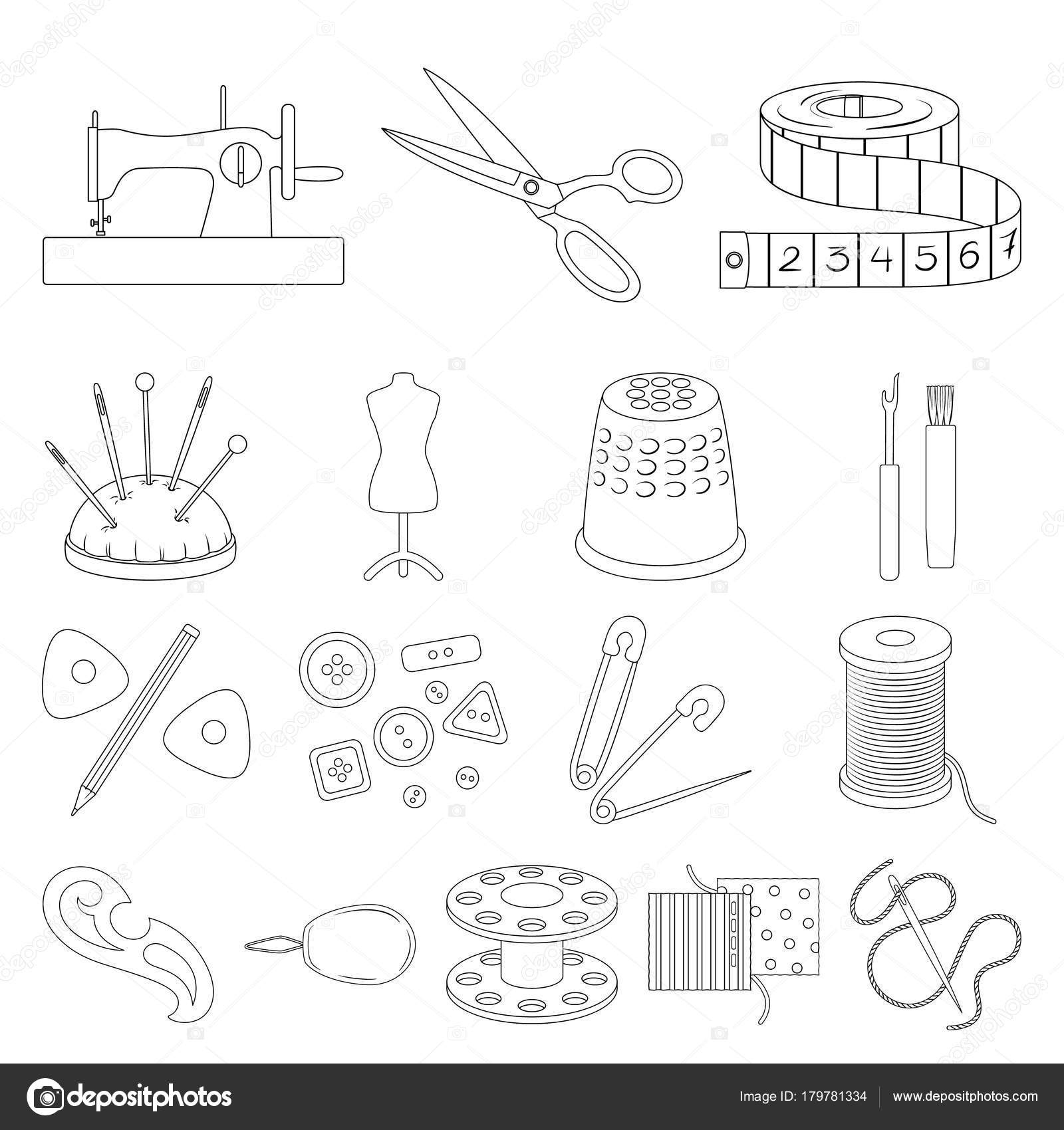Sewing, atelier outline icons in set collection for design