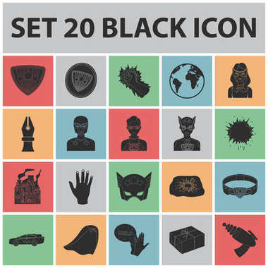 A fantastic superhero black icons in set collection for design. Superheros equipment vector symbol stock web illustration.