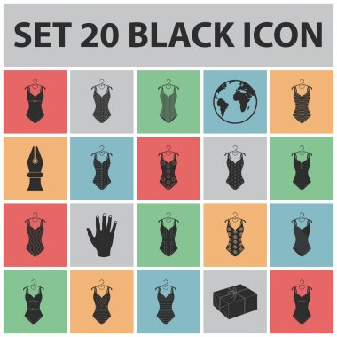 Different types of swimsuits black icons in set collection for design. Swimming accessories vector symbol stock web illustration.
