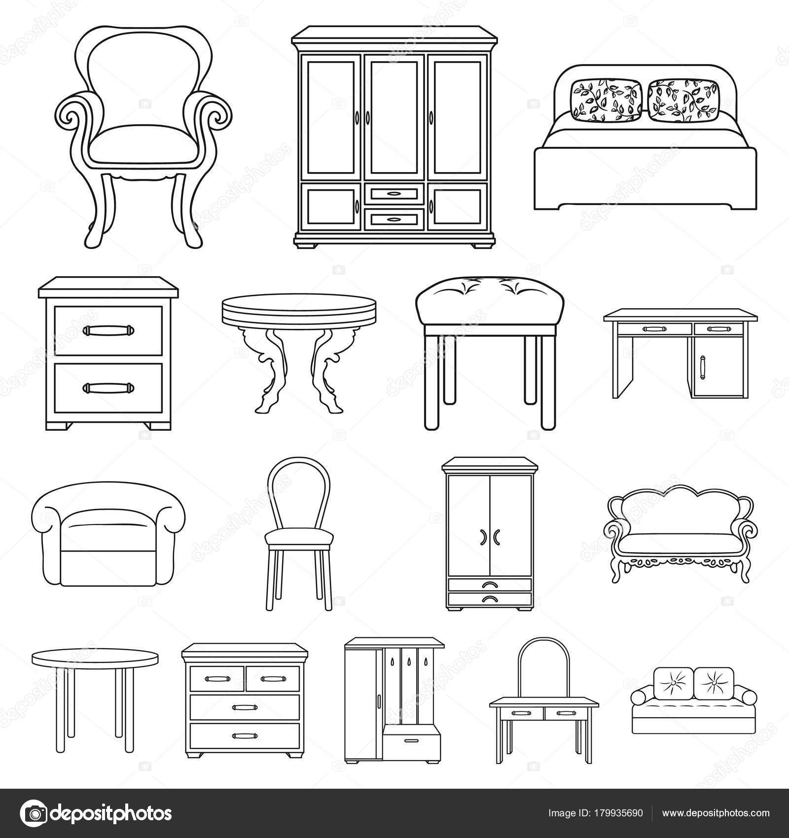 Mobili ed arredamento contorni icone in insieme di set per for Ultimi disegni di mobili foto
