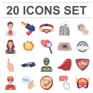 A fantastic superhero cartoon icons in set collection for design. Superheros equipment vector symbol stock web illustration.