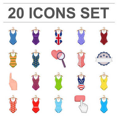 Different types of swimsuits cartoon icons in set collection for design. Swimming accessories vector symbol stock web illustration.