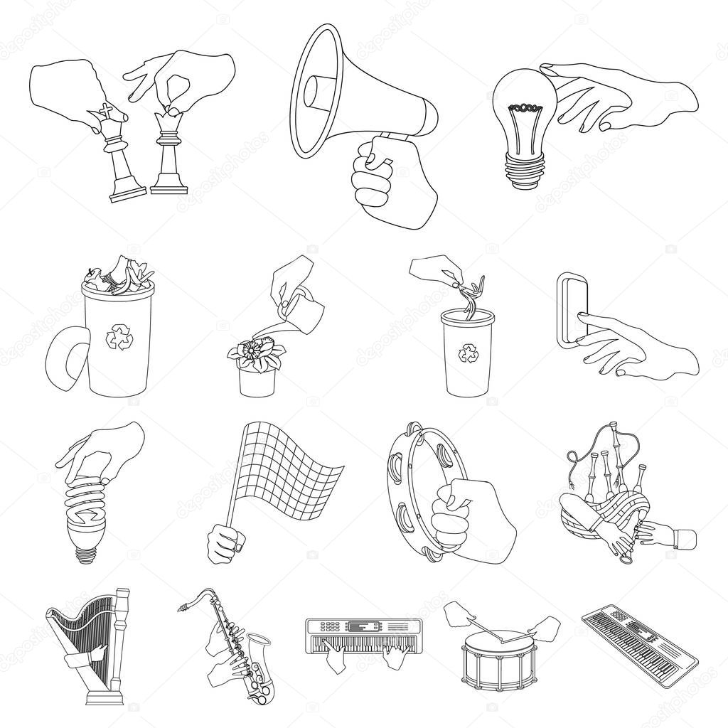 Manipulation by hands outline icons in set collection for design. Hand movement vector symbol stock web illustration.