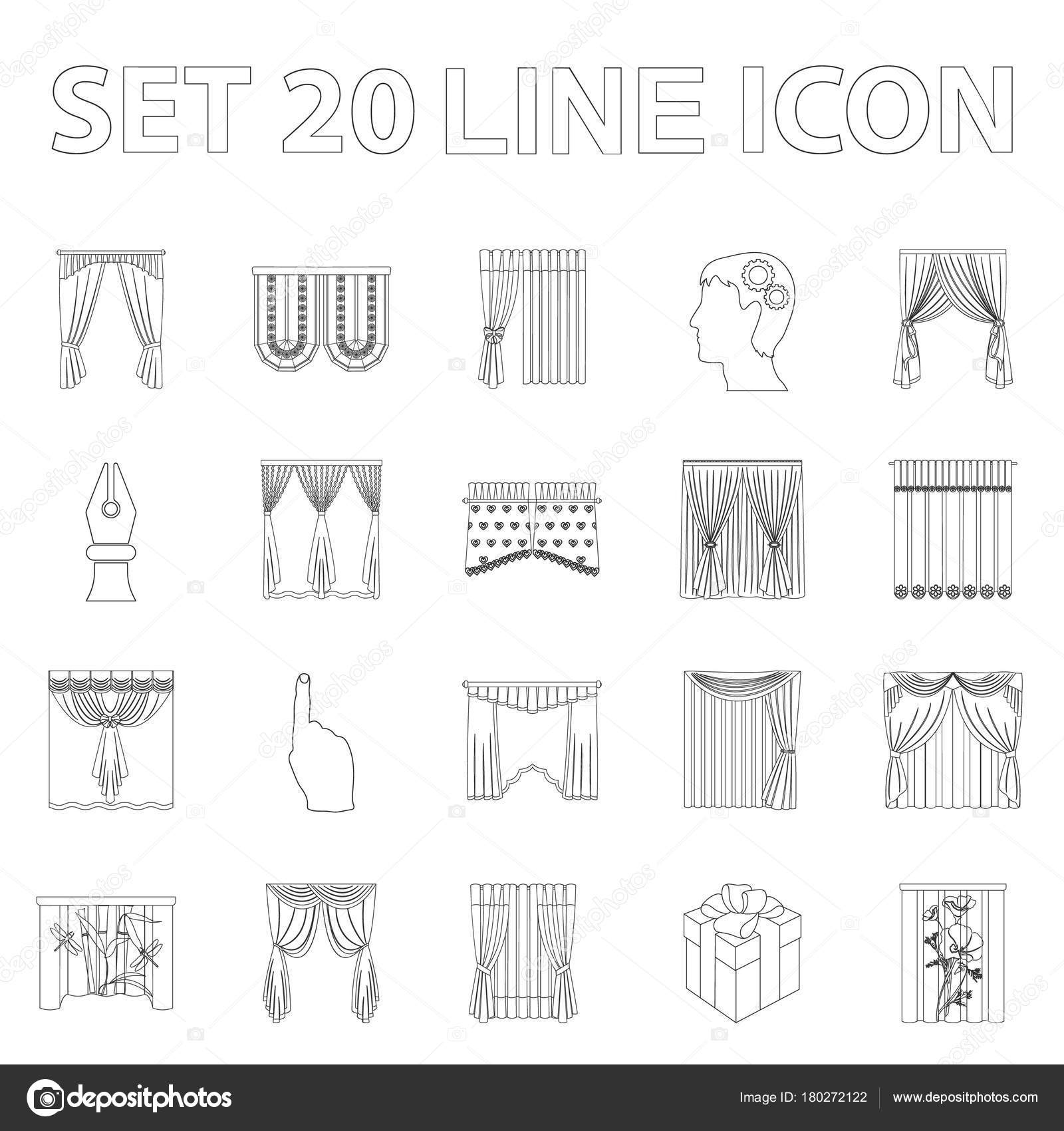 Different Kinds Of Curtains Outline Icons In Set Collection For