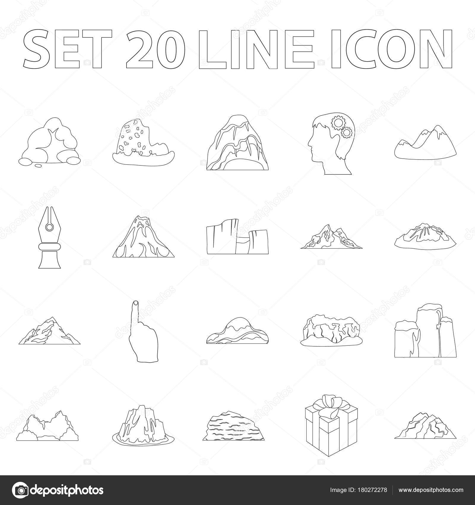 Different Mountains Outline Icons In Set Collection For Design