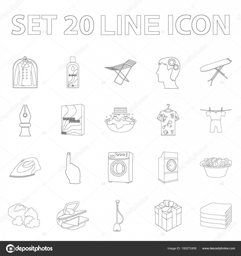 Dry cleaning equipment outline icons in set collection for design dry cleaning equipment outline icons in set collection for design washing and ironing clothes vector symbol stock illustration vector by pandavector buycottarizona Choice Image