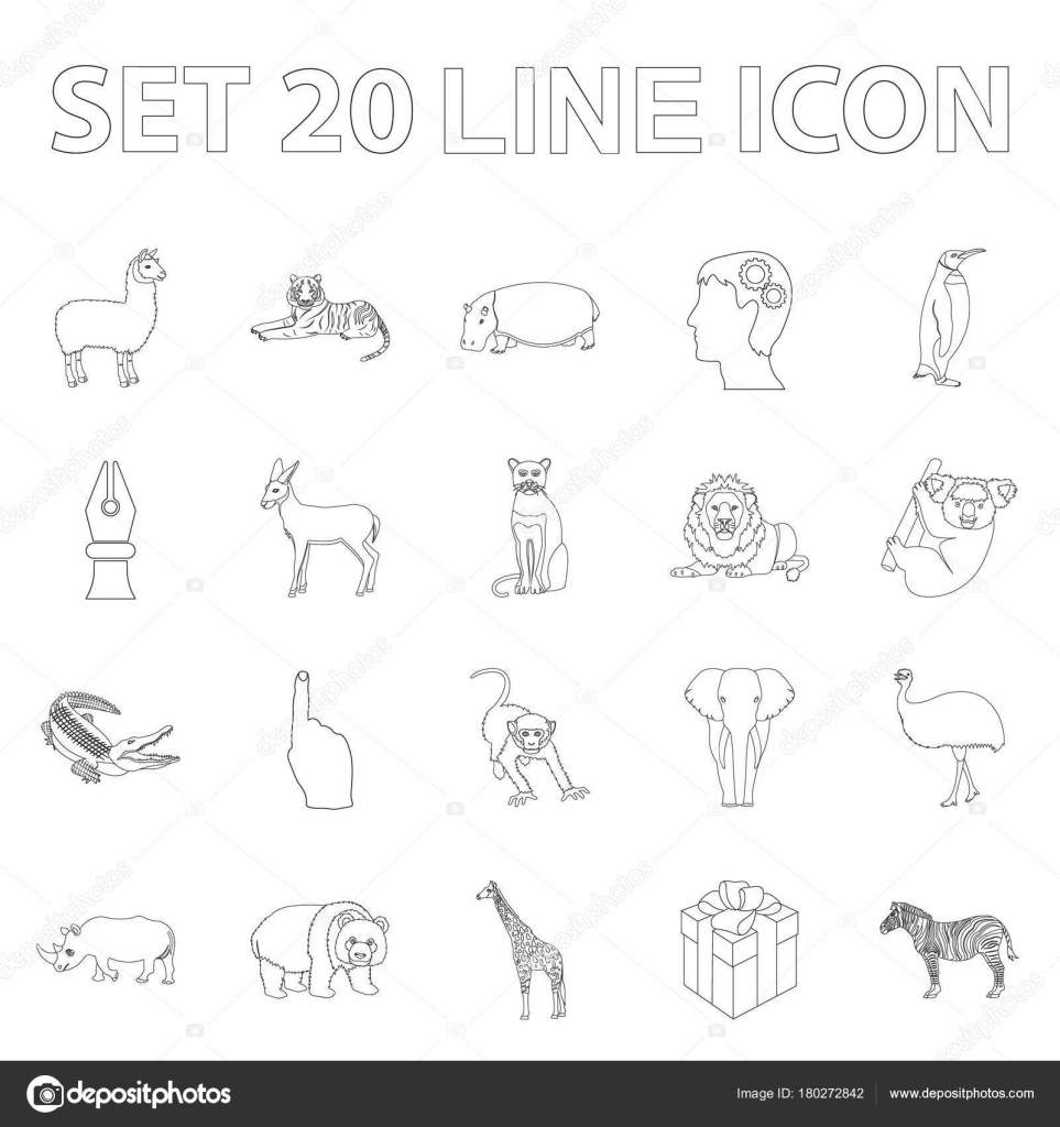 Different Animals Outline Icons In Set Collection For Design Bird