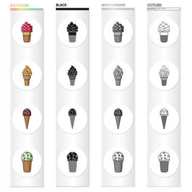 Ice cream, food and dessert. Different types of ice cream set collection icons in cartoon black monochrome outline style vector symbol stock illustration web.