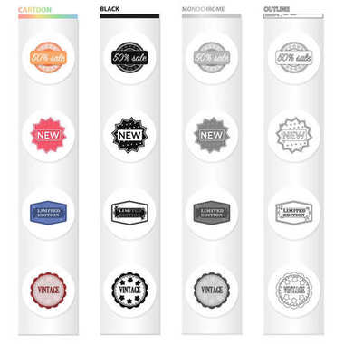 Different types of labels, novelty, vintage, limited edition. Label set collection icons in cartoon black monochrome outline style vector symbol stock illustration web.