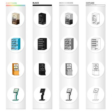 Coffee machine, water dispenser, payment terminal, ticket machine. Different types of terminal set collection icons in cartoon black monochrome outline style isometric vector symbol stock illustration