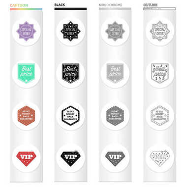 Different types of labels, special offer, VIP. Label set collection icons in cartoon black monochrome outline style vector symbol stock illustration web.