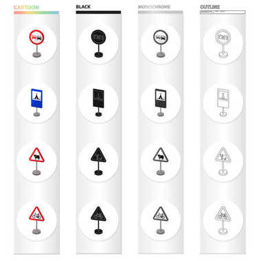 Index on the road, prohibiting, warning, indicating and other types of signs. Road sign set collection icons in cartoon black monochrome outline style vector symbol stock illustration web.