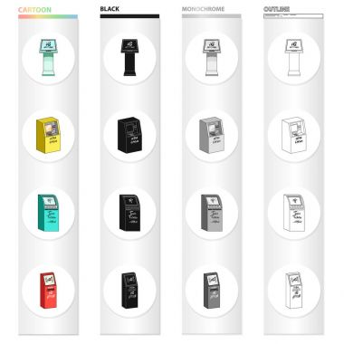Information machine, cash terminal, ticket machine. Different types of terminal set collection icons in cartoon black monochrome outline style vector isometric symbol stock illustration web.