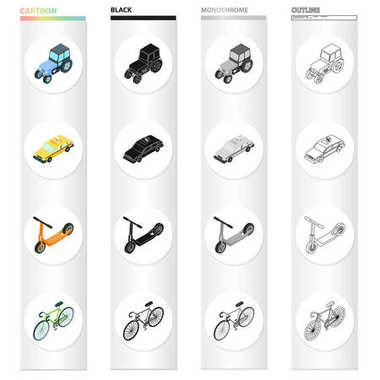 Agricultural tractor, urban transport bicycle, car, childrens scooter. Transport set collection icons in cartoon black monochrome outline style vector symbol stock illustration isometric web.