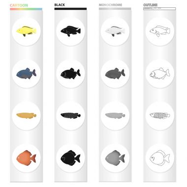 Different types of aquarium and sea fish, the moon. A fish set collection icons in cartoon black monochrome outline style vector symbol stock illustration web.