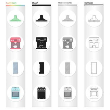 Types of household appliances cartoon black monochrome outline icons in set collection for design.Kitchen equipment vector symbol stock web illustration.