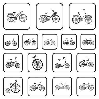Various bicycles black icons in set collection for design. The type of transport vector symbol stock web illustration.