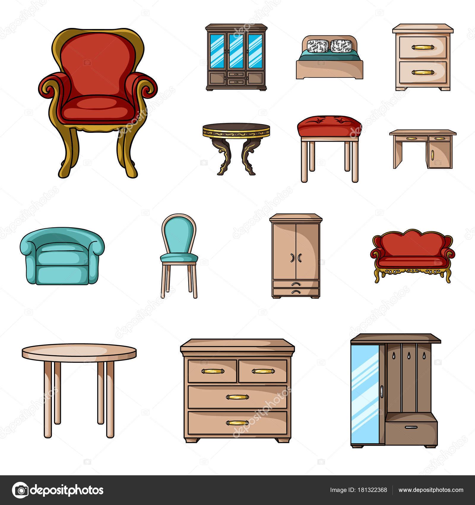 Muebles y interior de dibujos animados iconos de colecci n - Web de muebles ...