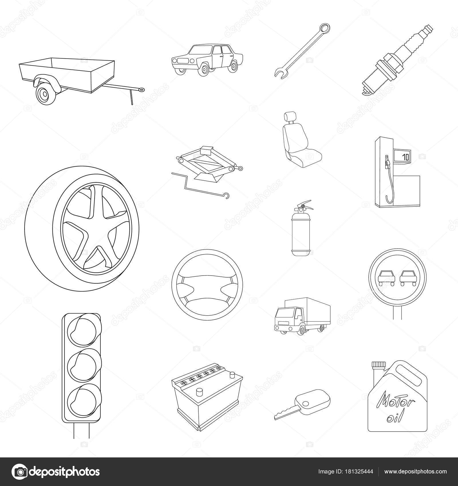 Auto, Fahrzeug Gliederung Symbole im Set Sammlung für Design ...