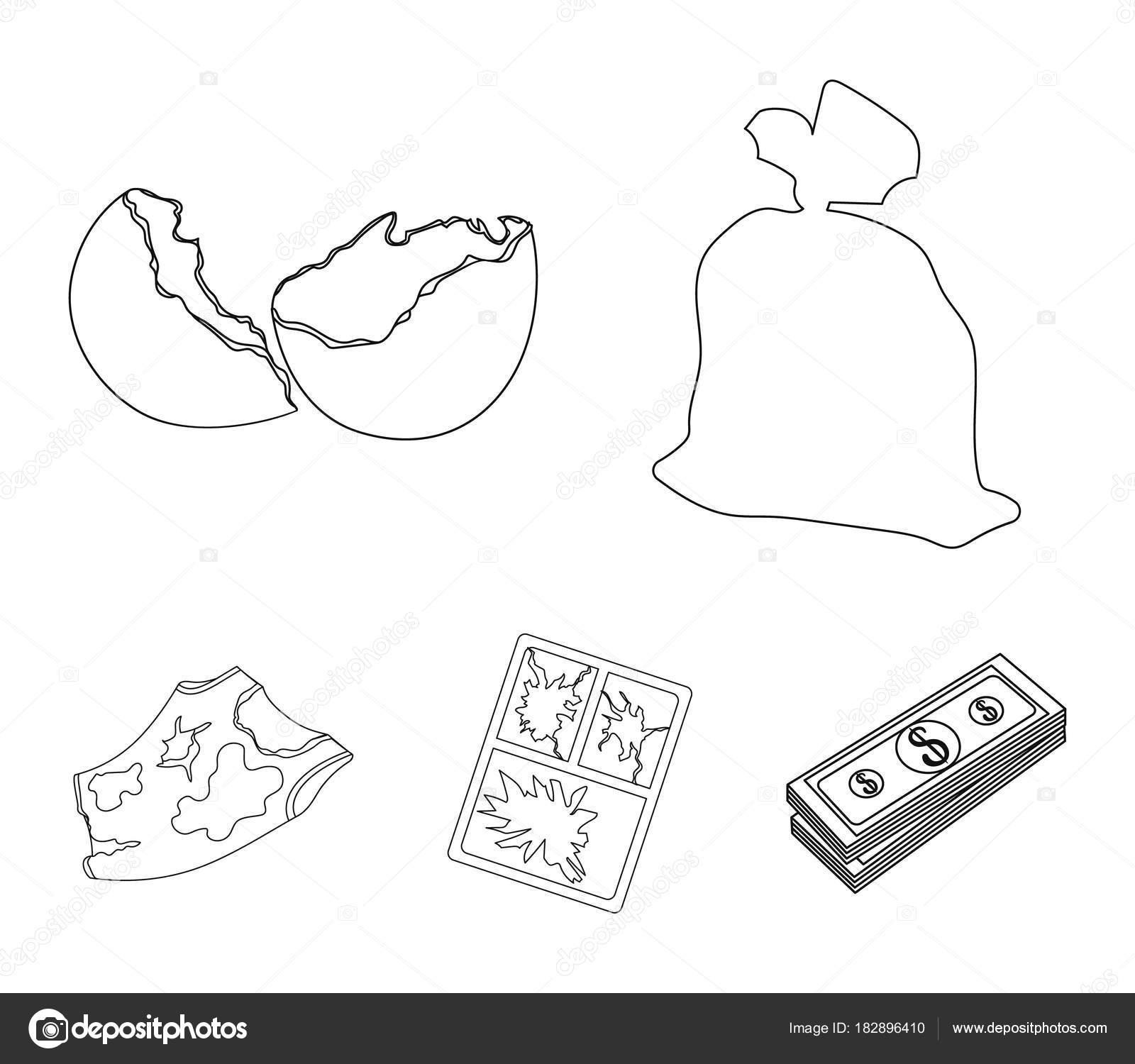 Una bolsa de basura, una cáscara de huevo roto, una camiseta sucia ...