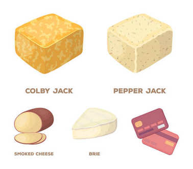 Brynza, smoked, colby jack, pepper jack.Different types of cheese set collection icons in cartoon style vector symbol stock illustration web.