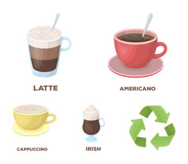 American, late, irish, cappuccino.Different types of coffee set collection icons in cartoon style vector symbol stock illustration web.