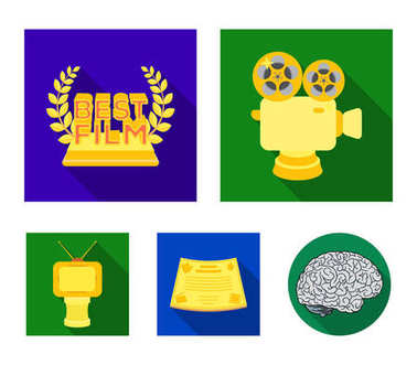 Silver camera. A bronze prize in the form of a TV and other types of prizes.Movie award,sset collection icons in flat style vector symbol stock illustration web.