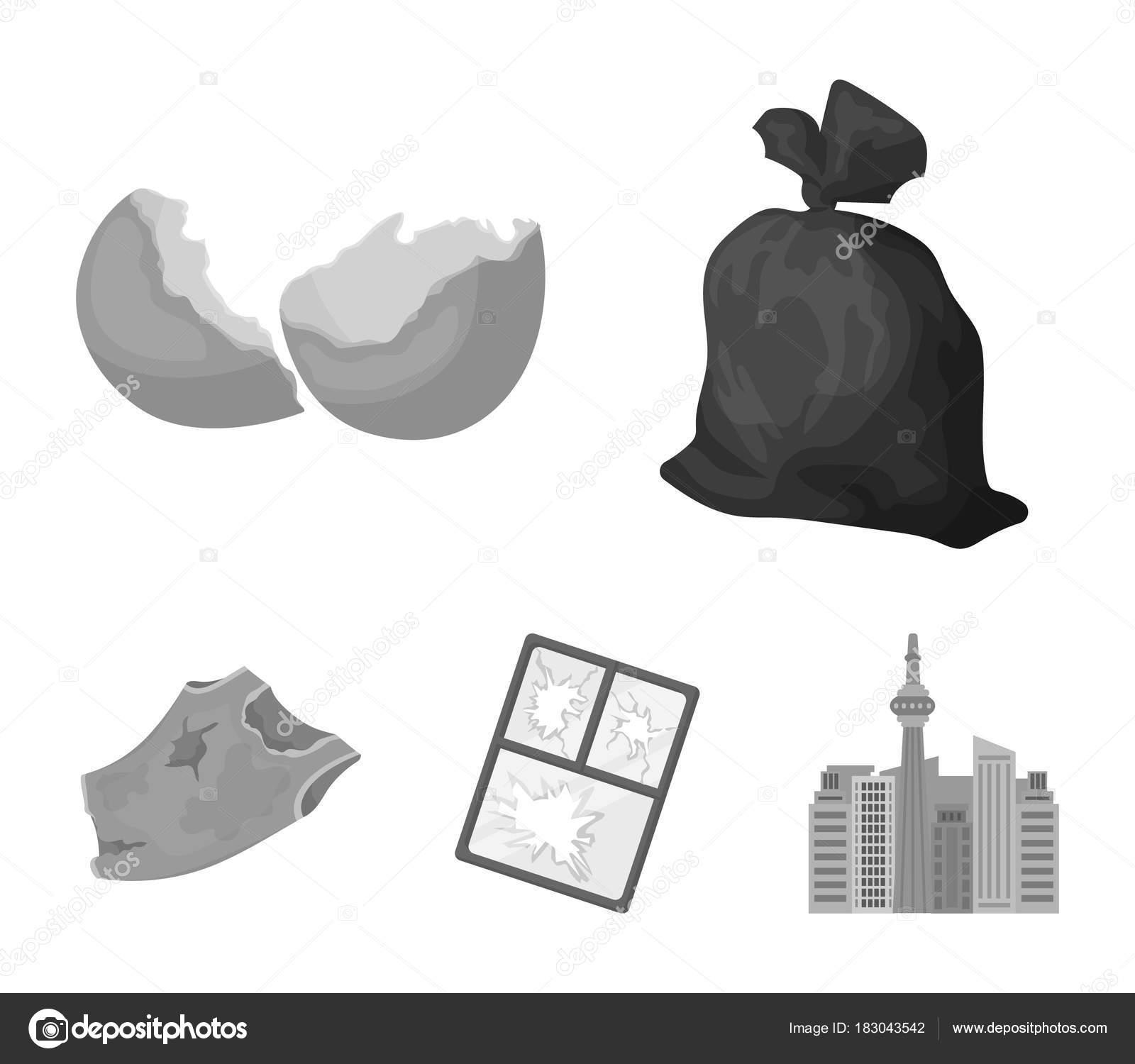 A Garbage Bag A Broken Egg Shell A Torn Dirty T Shirt A Broken