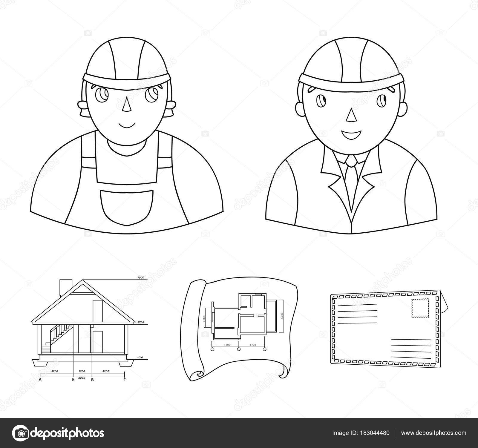 Ingénieur constructeur ouvrier du bâtiment plan de site technique de dessin de la maison architecture des icônes collection figurant contour style