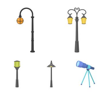 Lamppost in retro style,modern lantern, torch and other types of streetlights. Lamppost set collection icons in cartoon style vector symbol stock illustration web.