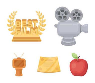 Silver camera. A bronze prize in the form of a TV and other types of prizes.Movie award,sset collection icons in cartoon style vector symbol stock illustration web.