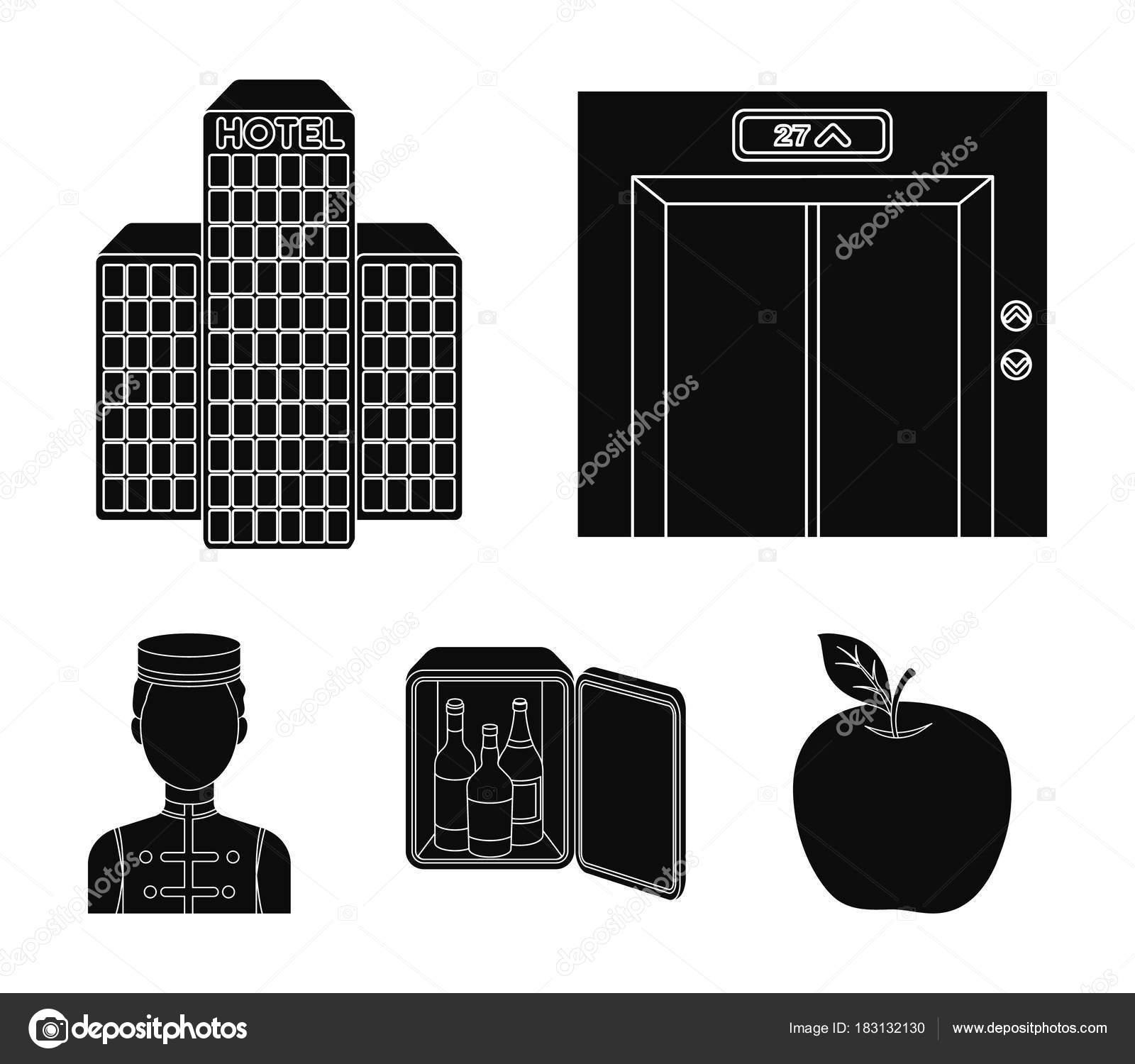 Asansör kabini, Bina personel bar, mini. Otel toplama simgeler siyah ...