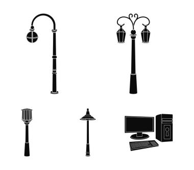 Lamppost in retro style,modern lantern, torch and other types of streetlights. Lamppost set collection icons in black style vector symbol stock illustration web.