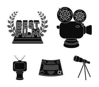 Silver camera. A bronze prize in the form of a TV and other types of prizes.Movie award,sset collection icons in black style vector symbol stock illustration web.