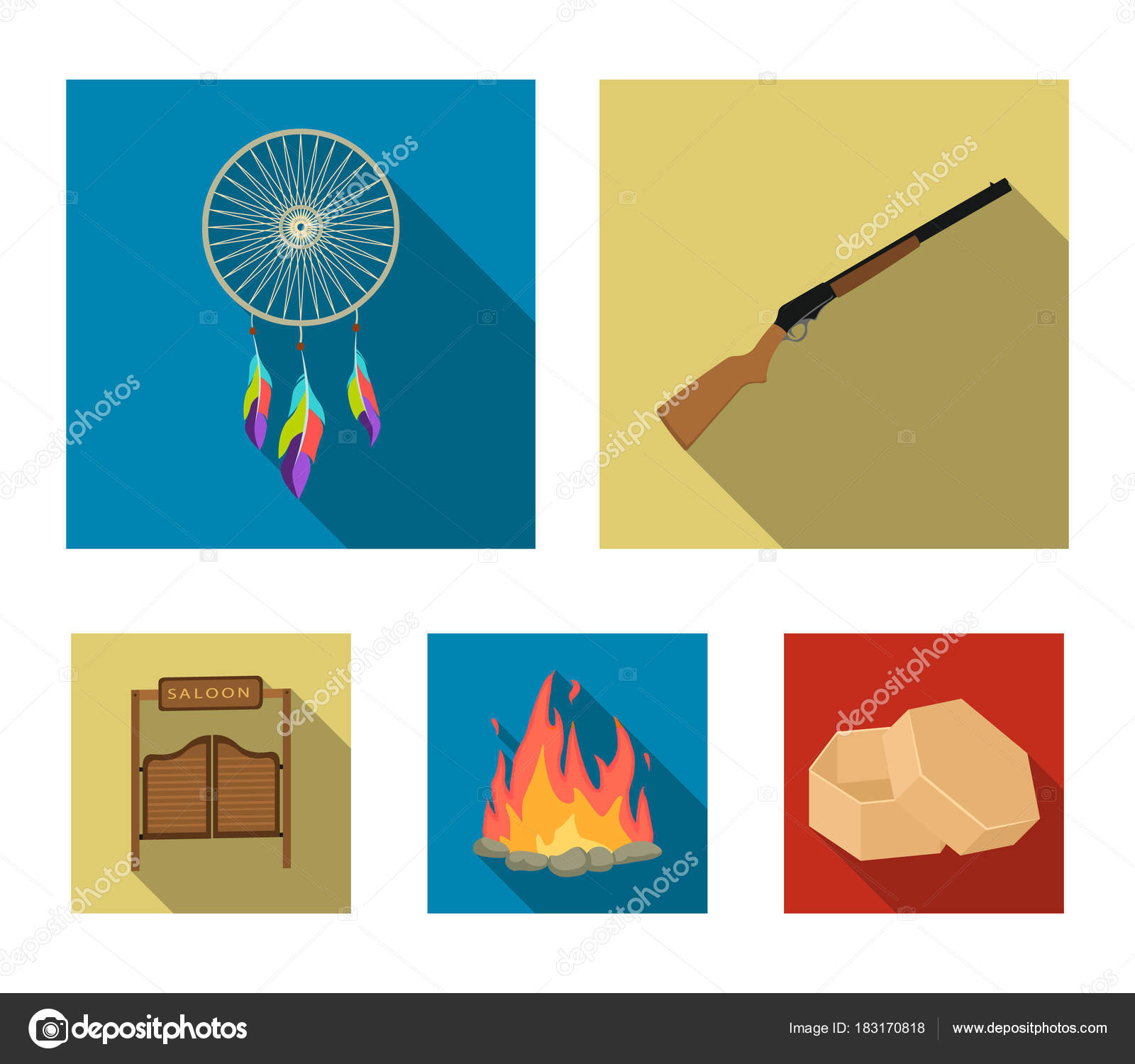 A dream catcher a gun a saloon door a firewild west set a dream catcher a gun a saloon door a fire set collection icons in flat style vector symbol stock illustration vector by pandavector biocorpaavc Choice Image