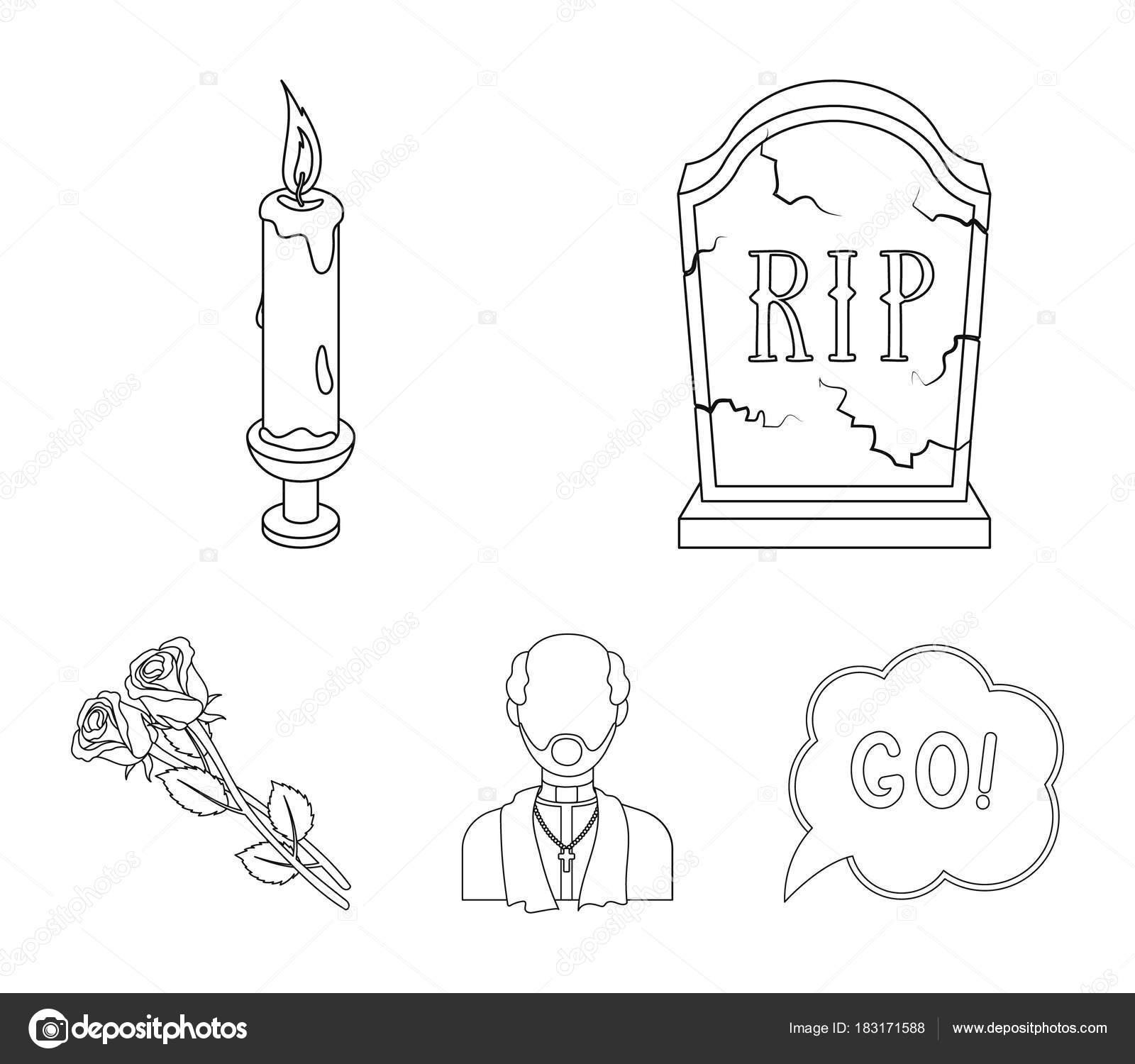 Ein Granit Grabstein mit Inschrift, eine Trauer-Kerze, ein Pasteur ...