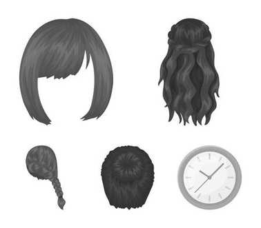 Kara, red braid and other types of hairstyles. Back hairstyle set collection icons in monochrome style vector symbol stock illustration web.