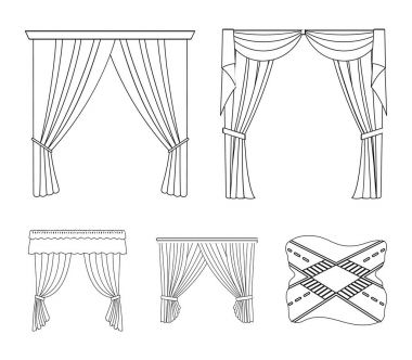 Different types of window curtains.Curtains set collection icons in outline style vector symbol stock illustration web.