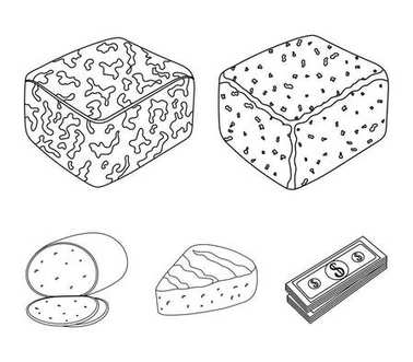 Brynza, smoked, colby jack, pepper jack.Different types of cheese set collection icons in outline style vector symbol stock illustration web.
