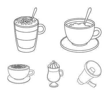 American, late, irish, cappuccino.Different types of coffee set collection icons in outline style vector symbol stock illustration web.